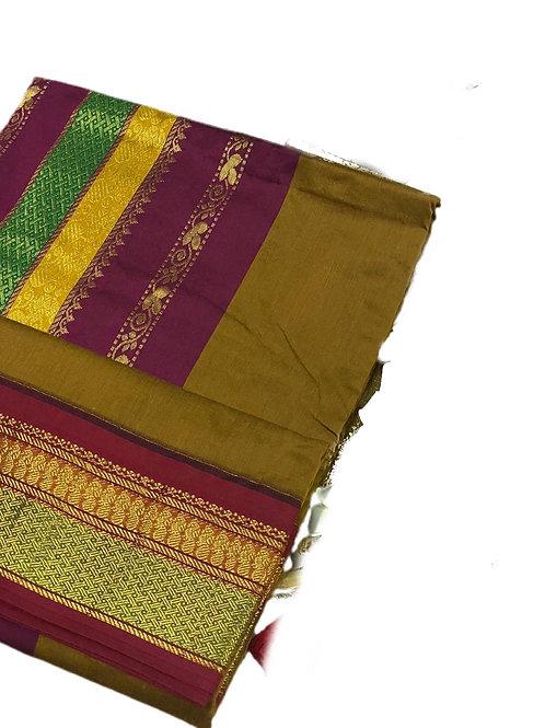 Beautiful Mehandi Green Handloom Cotton Silk Saree