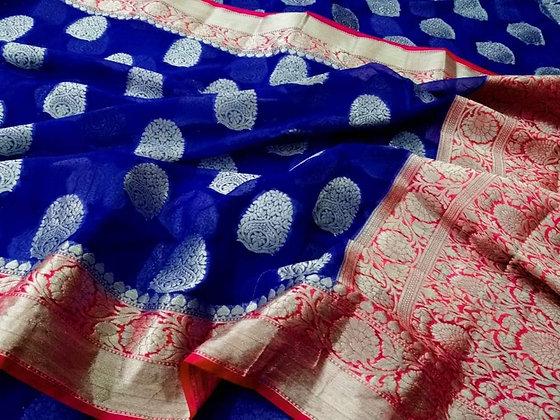Banarsi handloom semi georgette silk saree