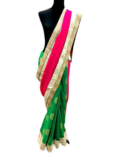 Chiffon Green Pink Saree