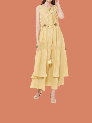 Yellow Silk Layered Embroidered Kurti