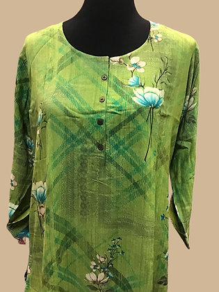 Printed Rayon Green Straight Kurti