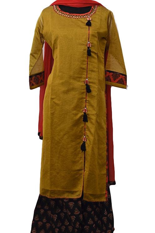 Mustard Yellow black Plazzo Suit