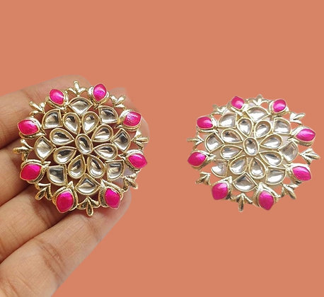 Charming pink Kundan Stud