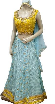 Gorgeous Georgette Sky Blue and yellow Lehanga Choli