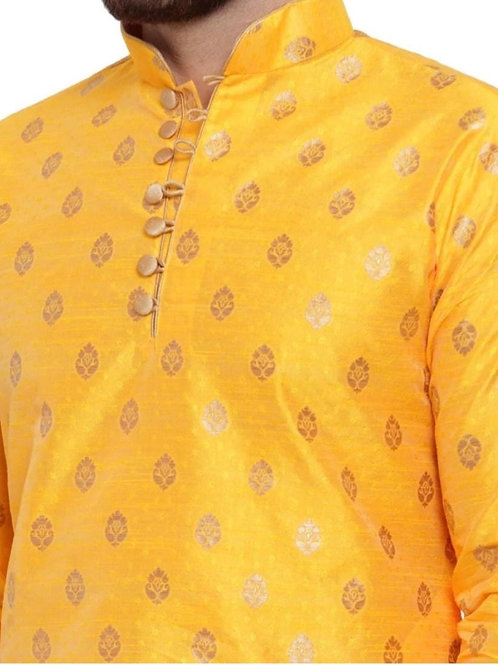 Designer Yellow Golden Men Kurta Pajama
