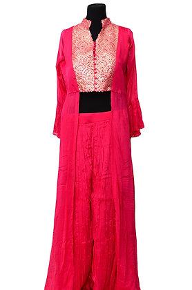Pink Plazzo Crop Top With Jacket