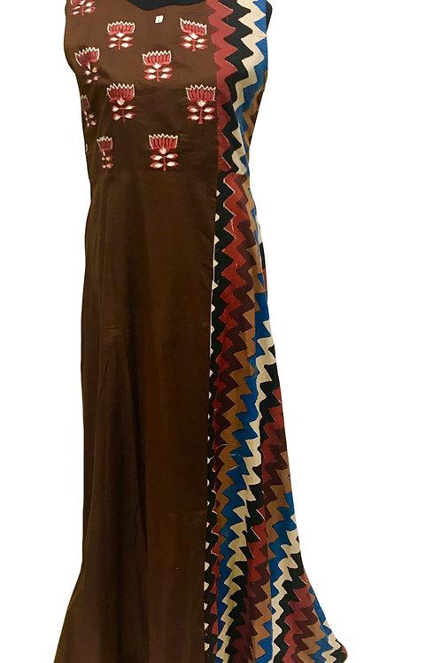 Brown Embroidery Kurti