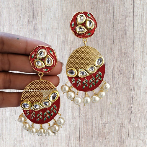 Beautiful Enamel Filled Earring