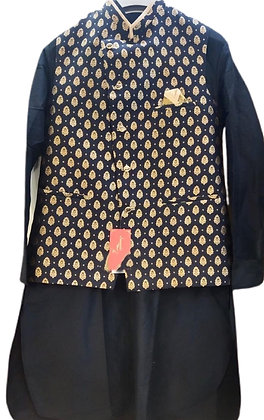 Majestic Black Kurta Pajama With Jacket