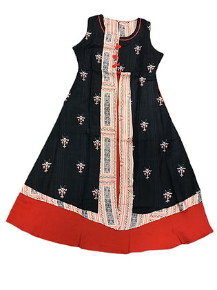 A line flared Kurti in Black and Red