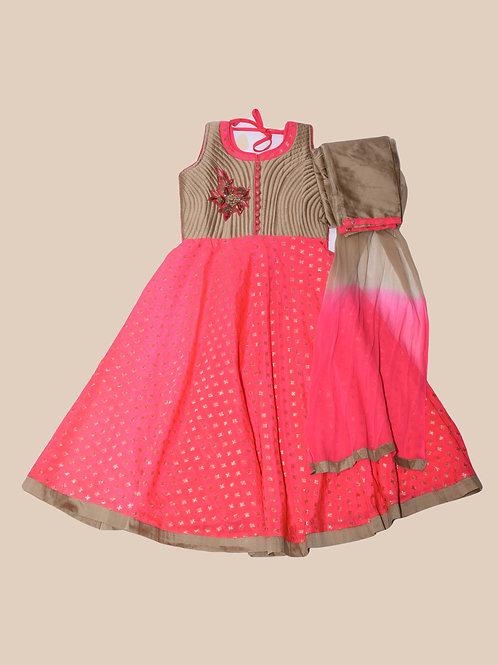 Girls Pink Abaya style Suit