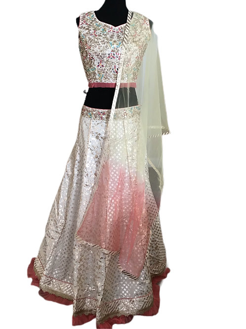 Designer White silk Lehanga Choli