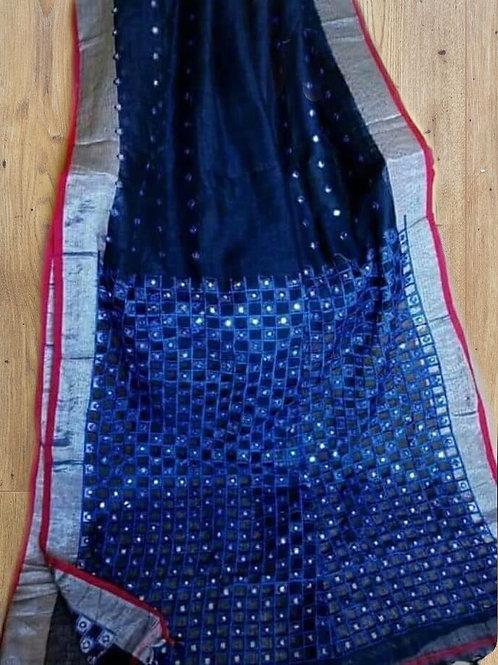 Blue Linen Cutwork And Mirror Work
