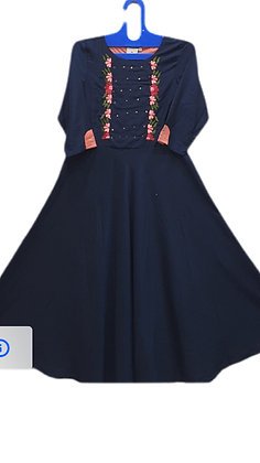 Pretty A Line Kurti in Navy Blue