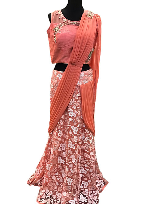Trendy Style Lehanga Saree in Coral Pink