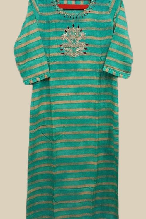 Beautiful Embroidery Green Cotton Kurti
