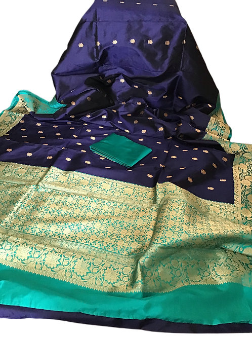 Lovely Pure Katan Banarasi Silk Saree in Blue