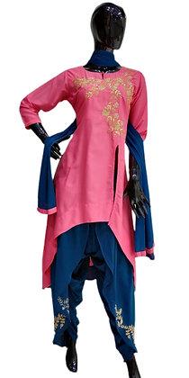 Stylish Pink Blue Dhoti Suit Set
