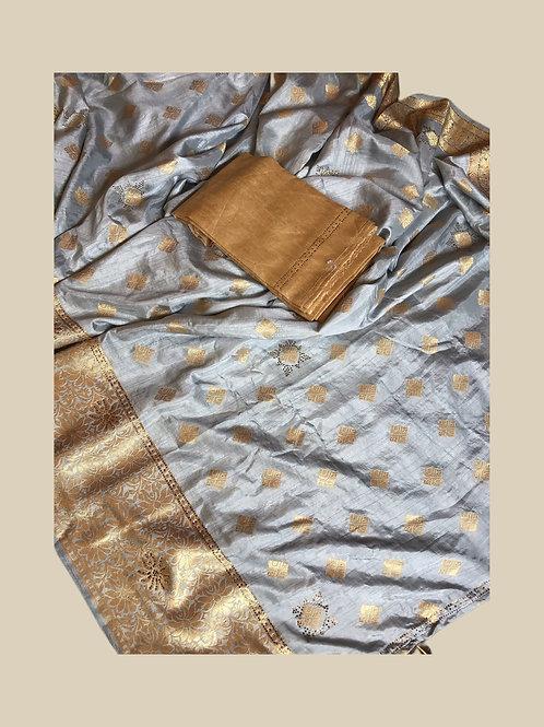 Synthetic Silk Blueish Grey Saree