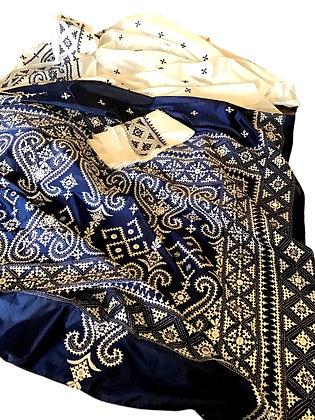Amazing Blue White Bangalore Silk Saree with Gujrati work