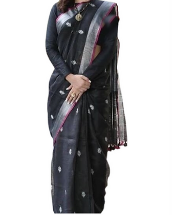 Ever Green Black Linen Silk Saree