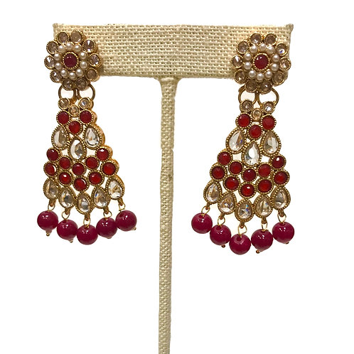 Kundan Red Earring