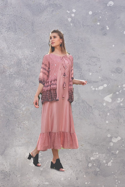 Blush Pink Color Jacket Kurti