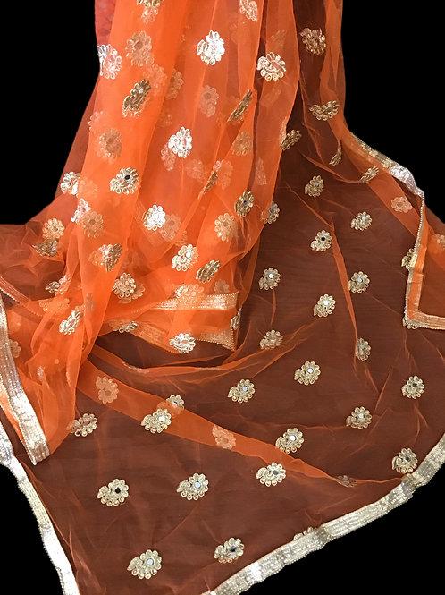Pretty Orange Net Dupatta
