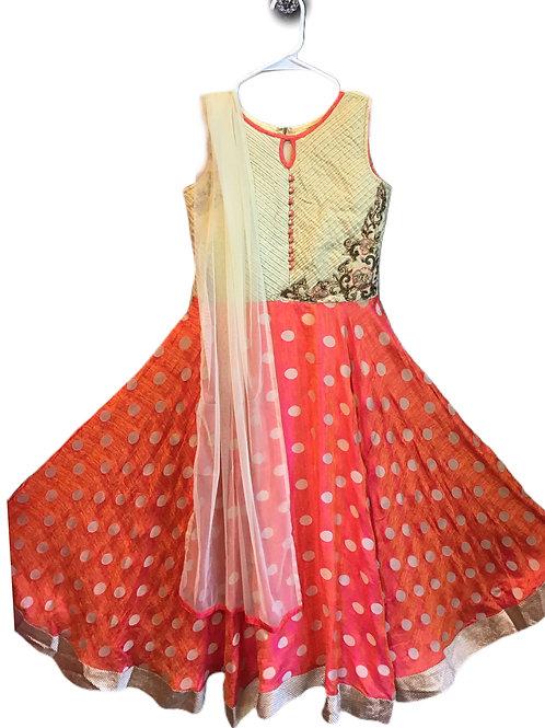 Silk Abaya Style Suit In Orange
