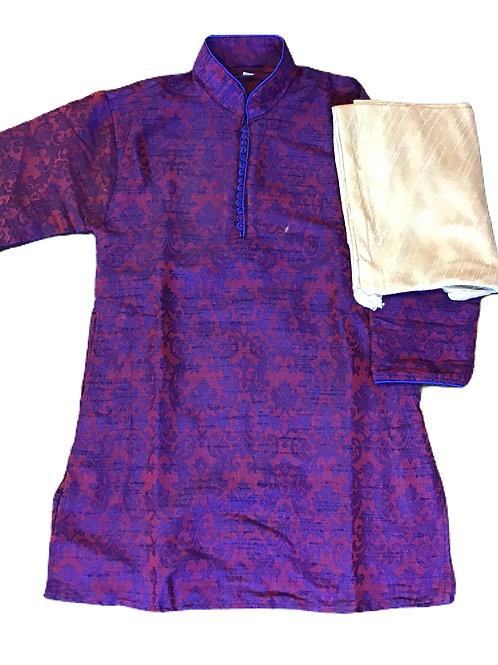 Silk Woven Blue Kurta Set