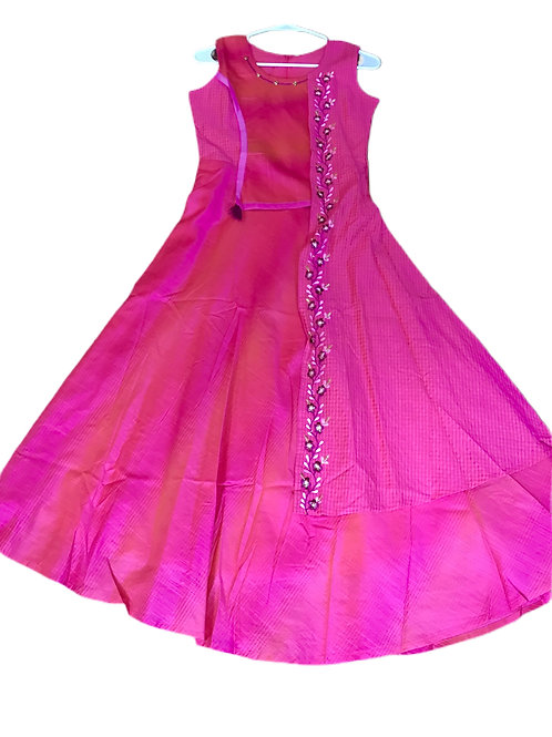 Girls Pink Flared Gown