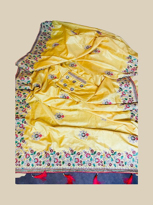 Synthetic Silk Saree in Yellow