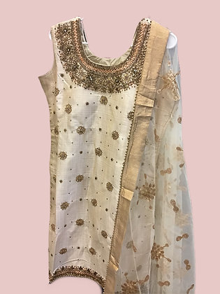 Elegant Cream Patiala Suit