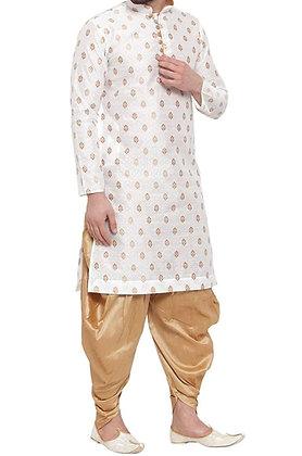 Designer White Golden Men Kurta Pajama