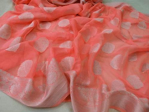 Beautiful Banarsi handloom semi georgette silk saree