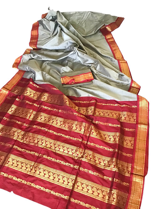 Beautiful Red and Light Brown Godwal Handloom Cotton Silk Saree