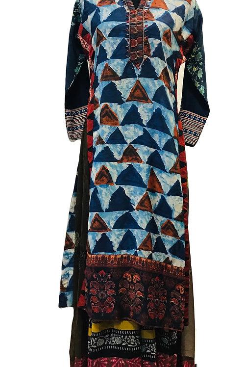 Blue Bagru print Flared Kurti