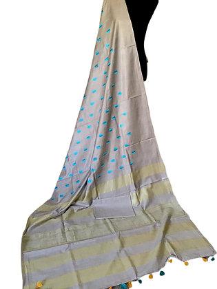 Elegant Silver Grey Katan Soft Silk embroidered Saree