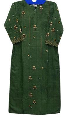 Silk Green Straight Kurti