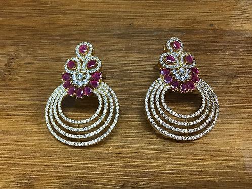 Pink Chandbali Stud Earring