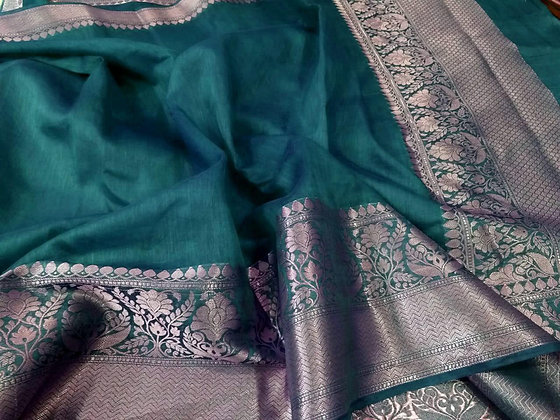 Beautiful linen Banarsi handloom saree