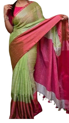 Lovely Green Linen Saree