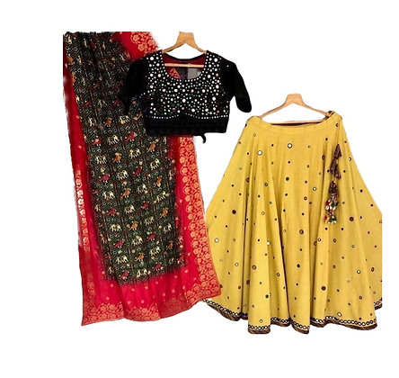 Designer yellow Black Lehanga Choli