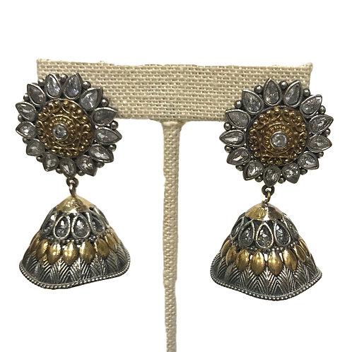 Dual Tone German Silver Jhumka Earring