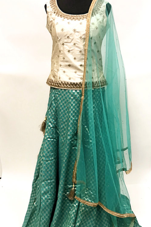 Green Cream Lehanga Choli