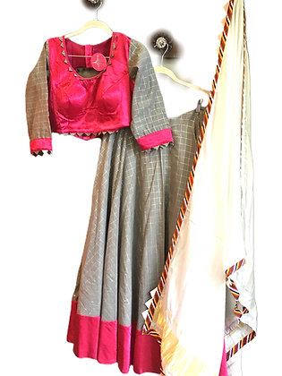 Beautiful Grey and Pink Lehanga Choli