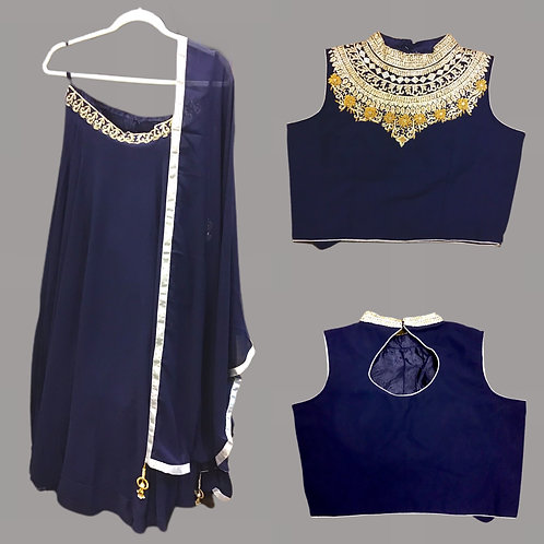 Georgette Navy Blue Lehanga Choli