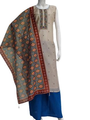 Embroidered Cotton Silk Golden color Plazzo Suit Set