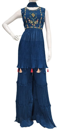 Trendy style Blue Gharara suit set