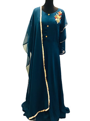 Stone Blue Abaya Style Salwar Suit